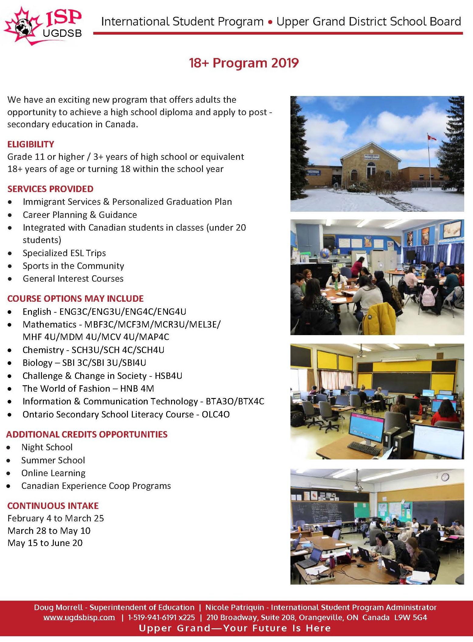 UGDSB ISP 18+ Program 2019 - Upper Grand - International Student Program