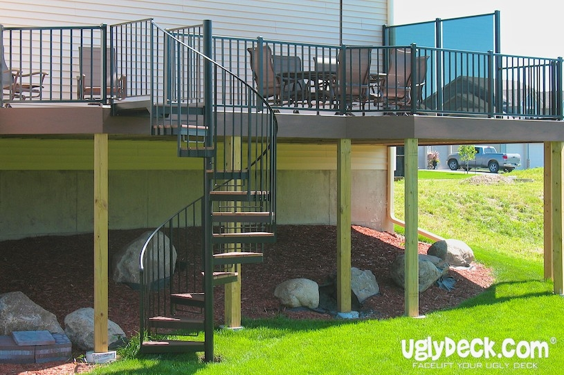 Twin Cities Outdoor Spiral Staircases – Minnesota Deck Builders   Exterior Spiral Staircase Cost   Spiral Stair Case   Deck   Handrail   Iron   Metal