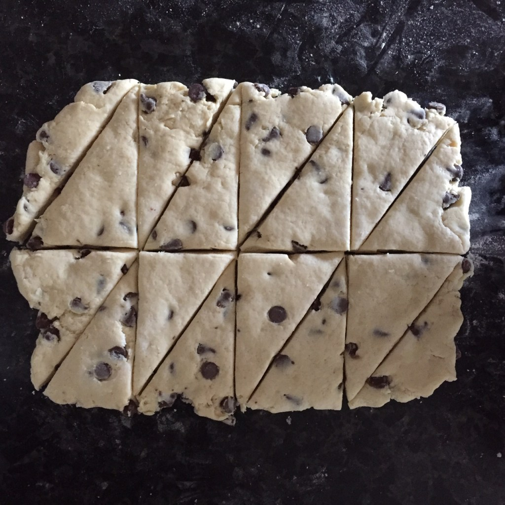 the rolled out chocolate chip scone dough cut into eight even rectangles and then into triangles