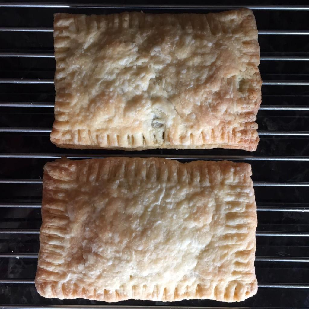 two nutella pop tarts on a baking rack