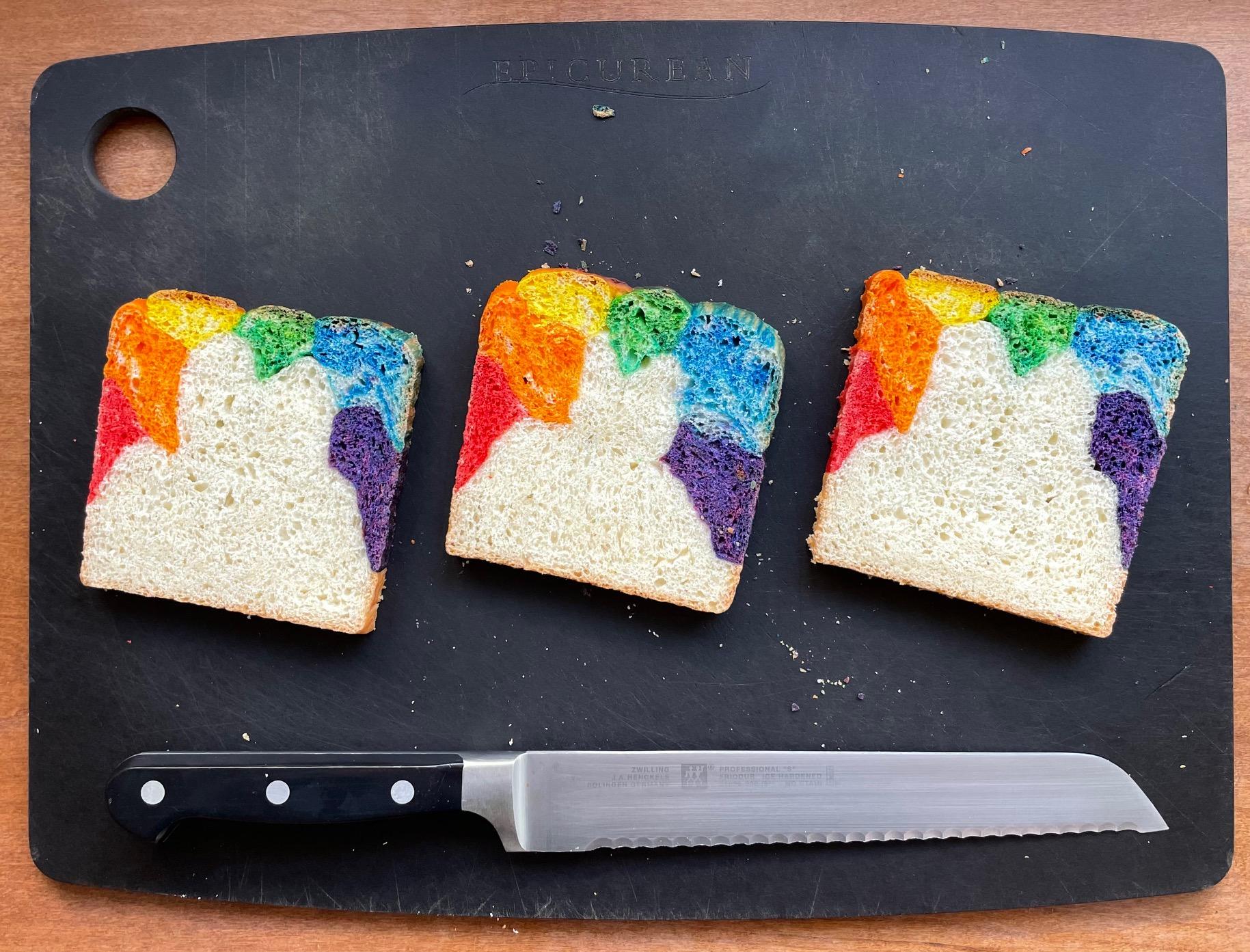 A rainbow bread recipe for Japanese milk bread