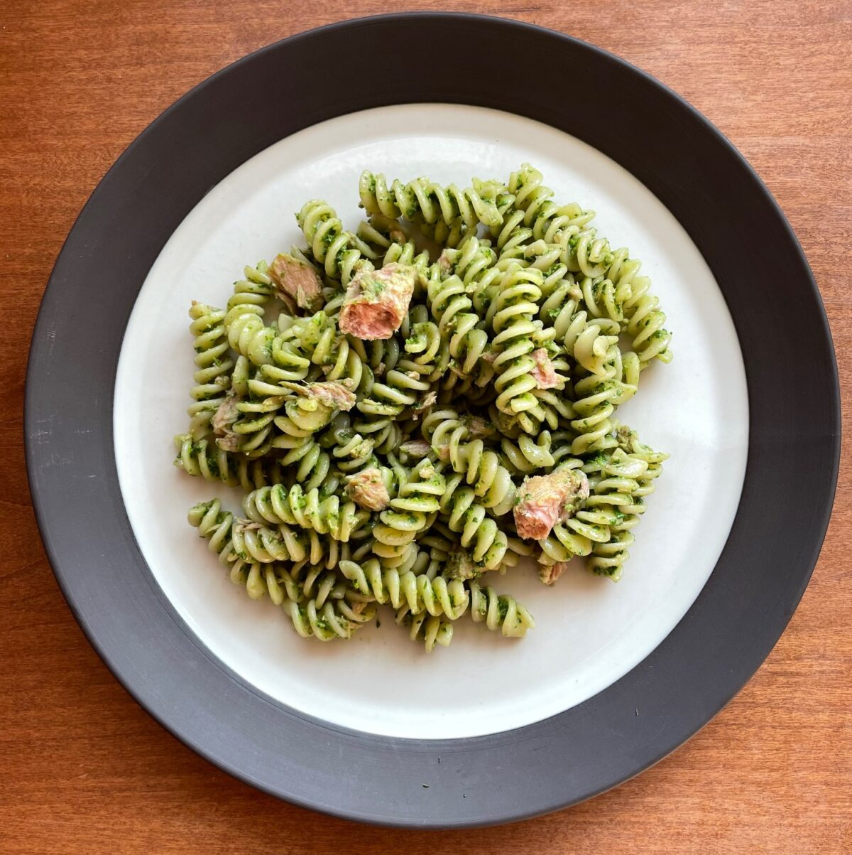 A Tuna Pesto Pasta Recipe with Arugula Spinach Pesto