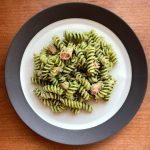 a plate of tuna pesto pasta made with fusilli