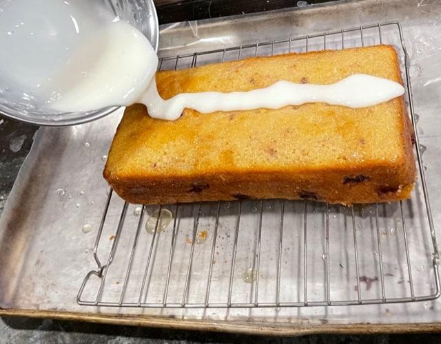 glazing the blackberry lemon bread