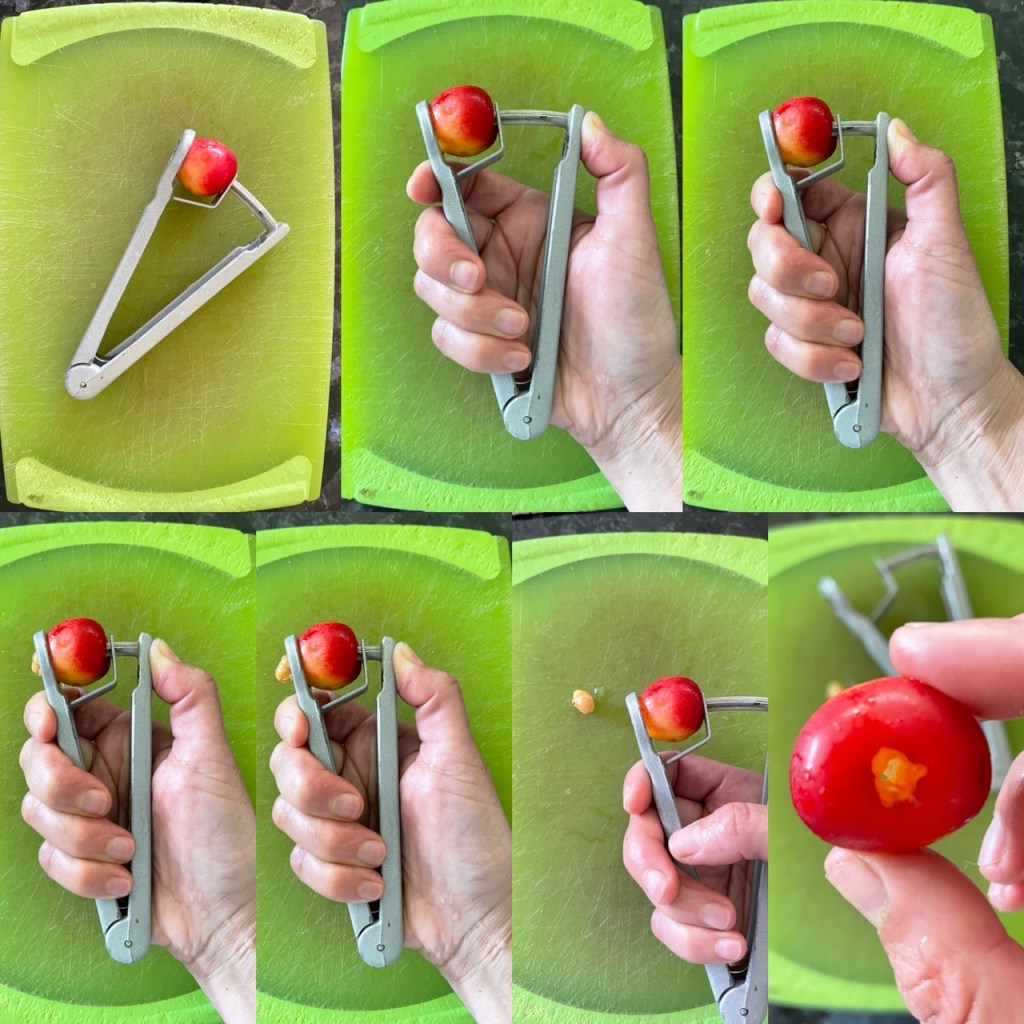 A sequence of 7 photos showing a handheld cherry pitter pitting a Rainier cherry.