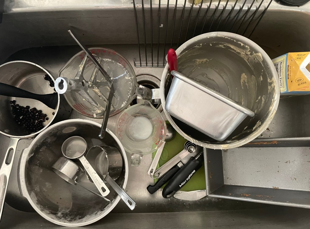 the mess in the sink after all of this baking