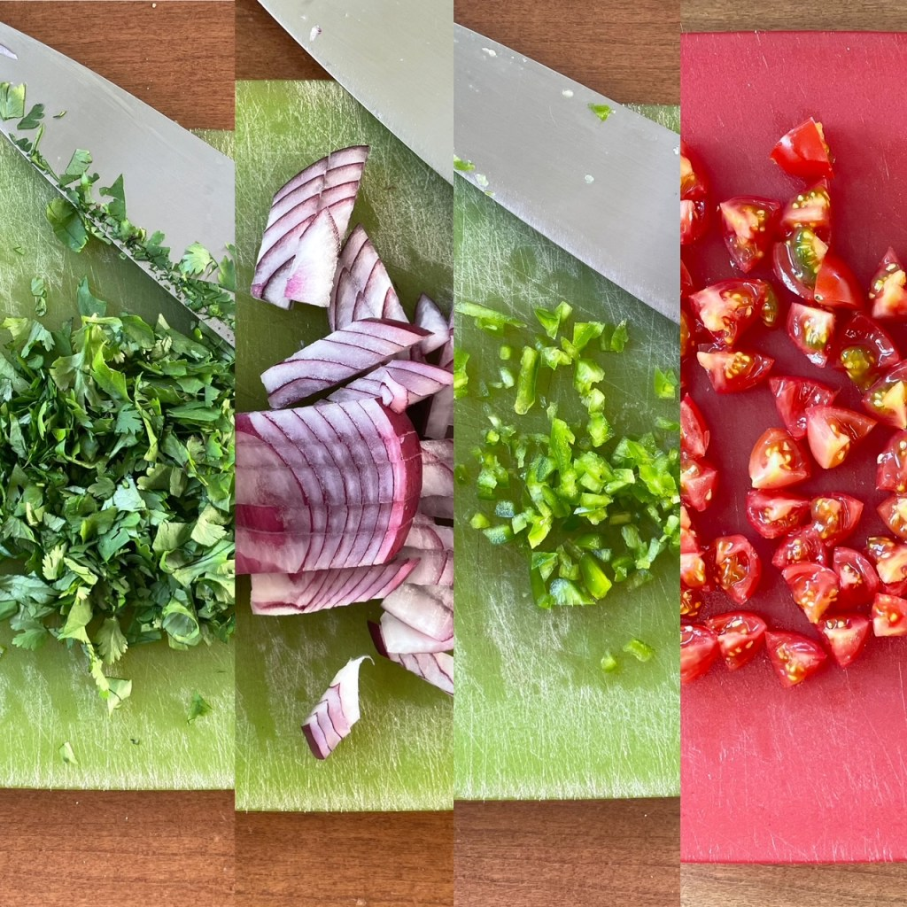 four panels of chopped ingredients for the mango pico de gallo