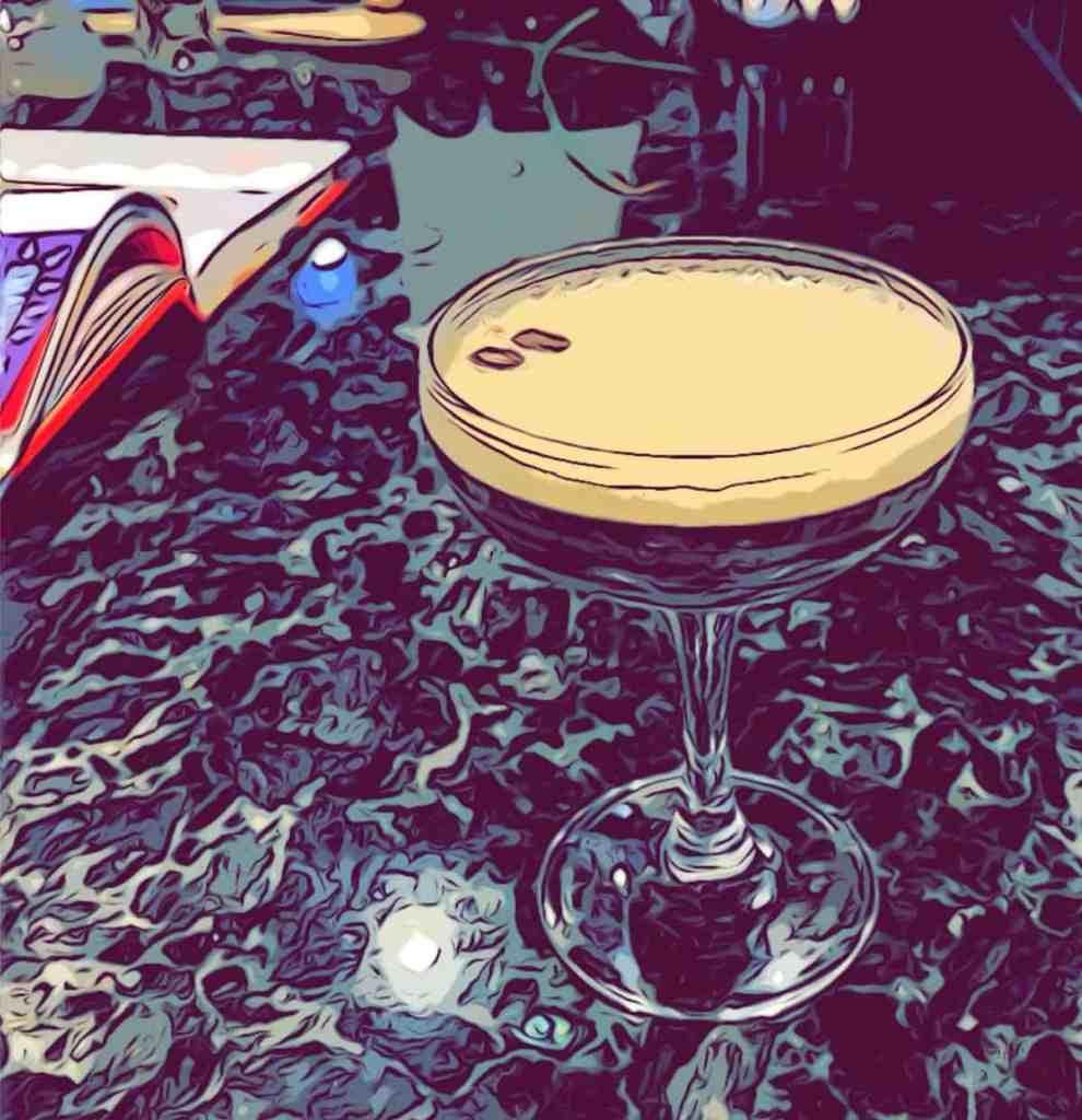 a comic type image of the gin espresso martini