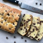 a chocolate chip loaf cake recipe cut into slices