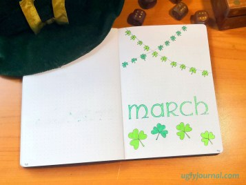 March bullet journal theme shamrock