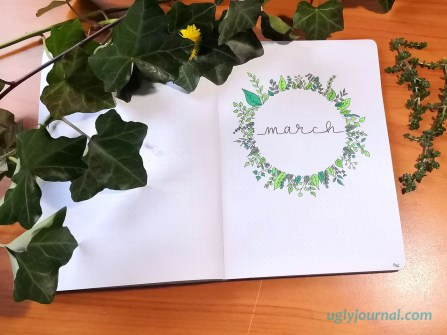 March bullet journal theme green wreath