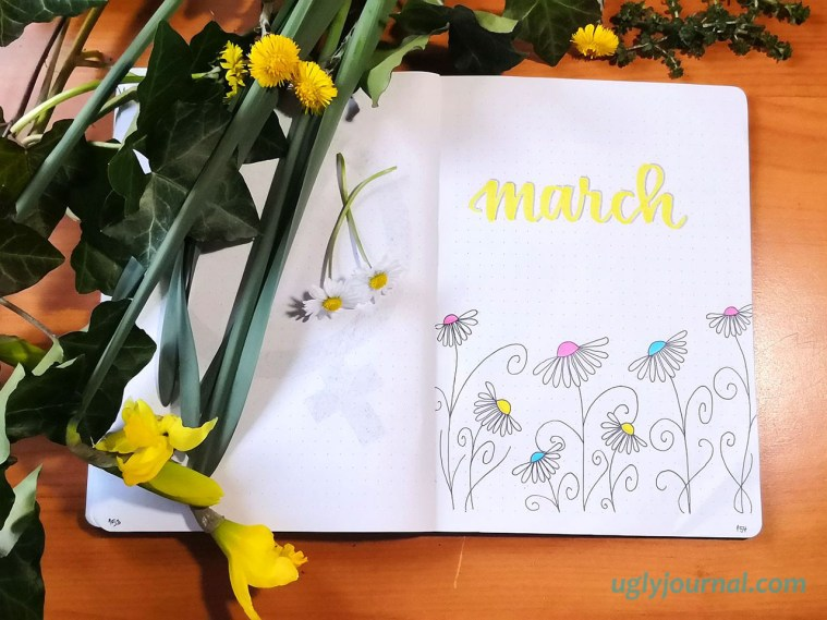 March bullet journal theme daisies