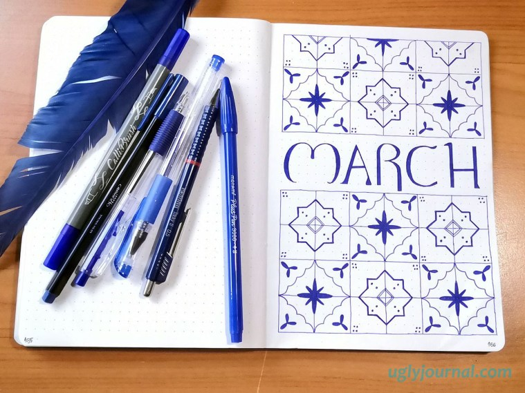 March bullet journal theme moroccan tiles
