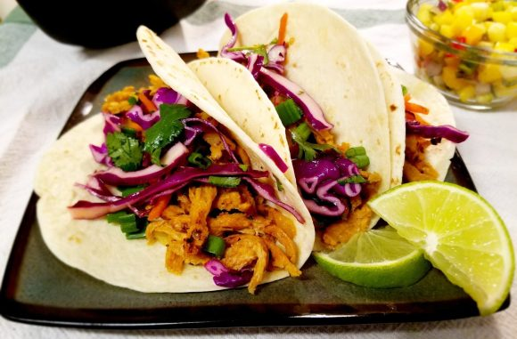 Vegan Soy Curl Carnitas Tacos with Cilantro-Lime Slaw