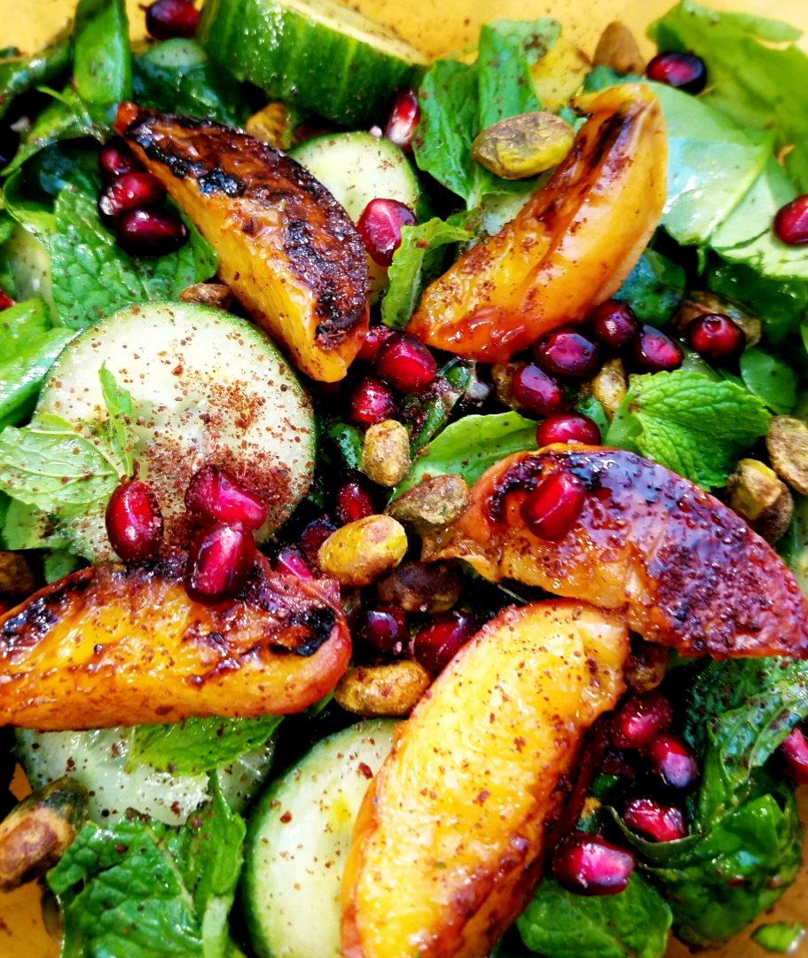 Grilled peach salad pistachios