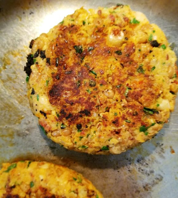 Chickpea burger in oven, skillet or on grill
