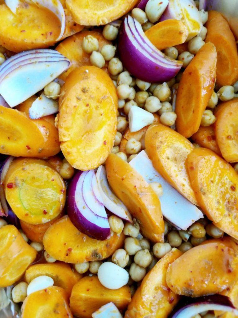 Carrots chickpeas harissa vegan