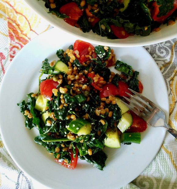 Wheat Berry Salad Cucumber Tomato