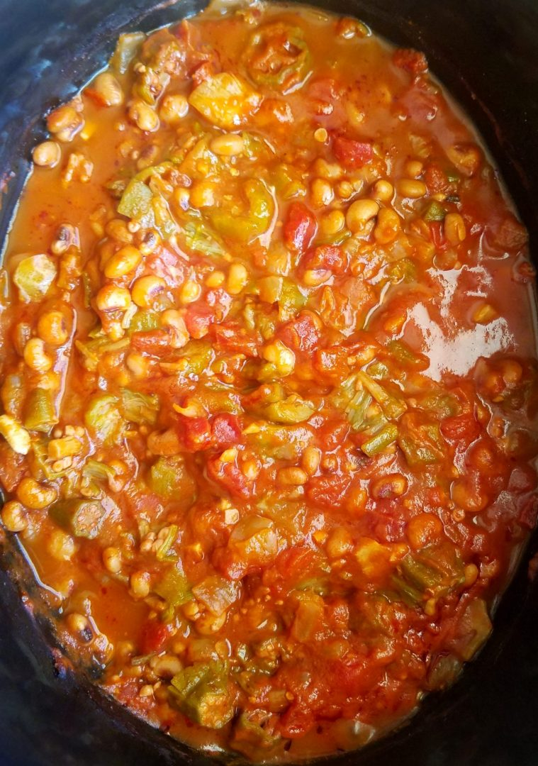 Slow cooked black-eyed peas, okra and tomatoes
