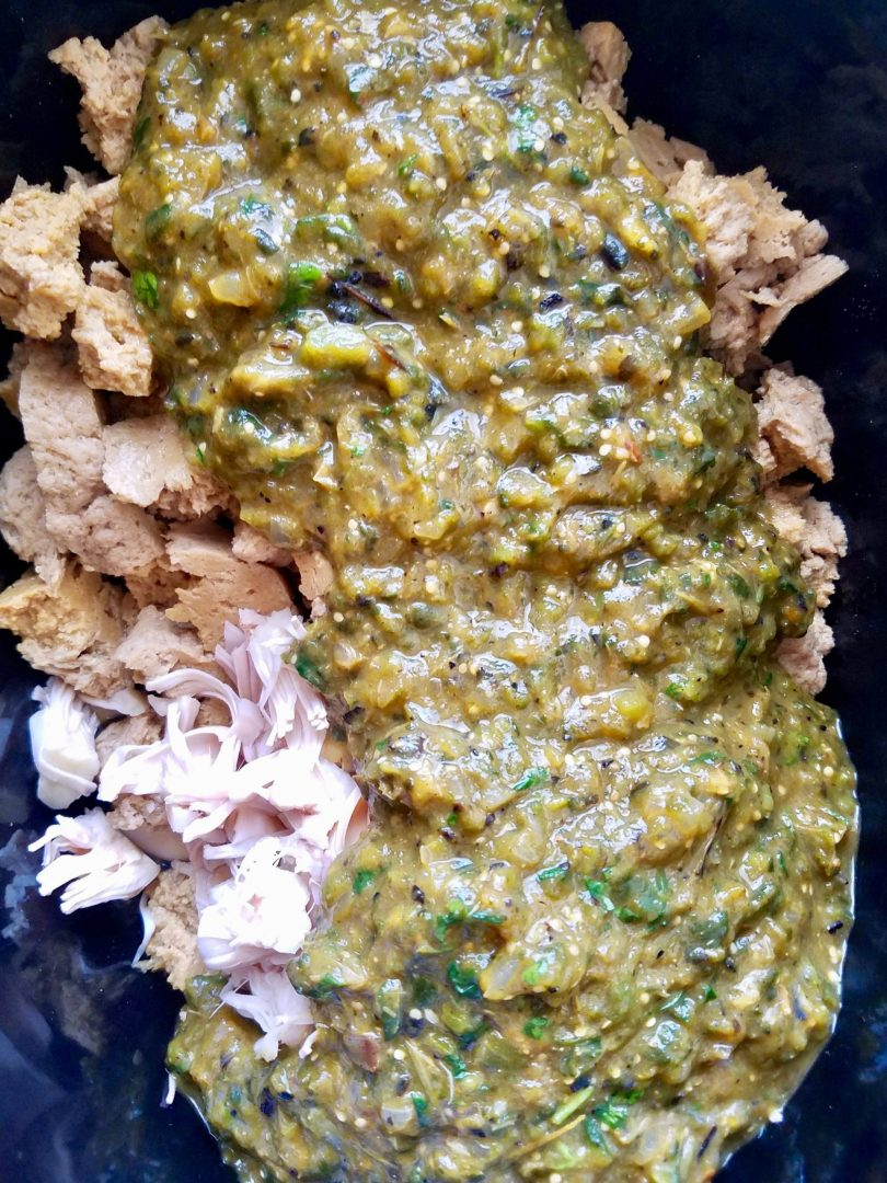 Crock pot Vegan Chili Verde with Jackfruit and Seitan