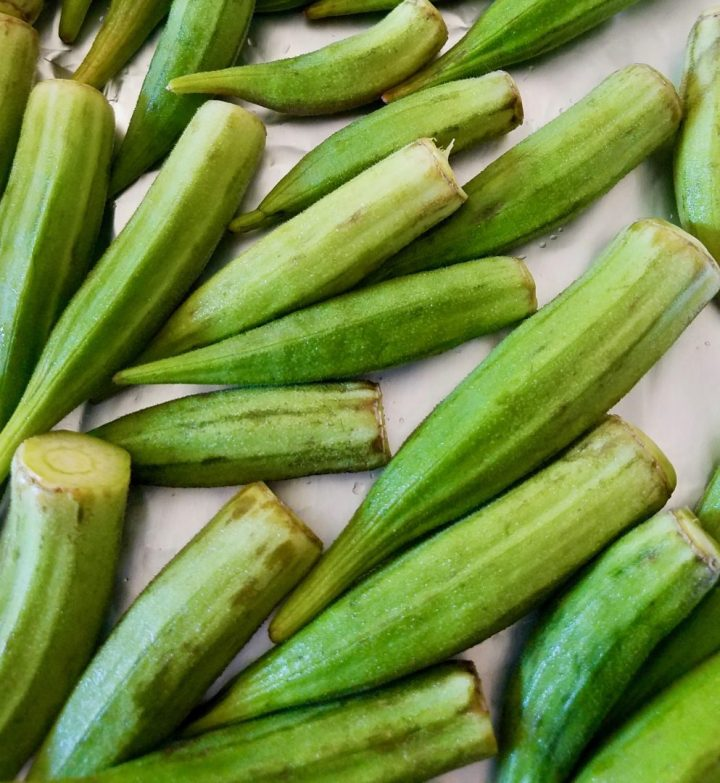 Grilling whole okra