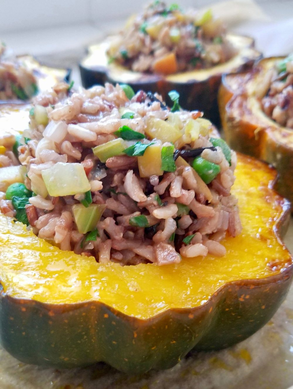 Vegan Wild Rice Stuffed Acorn Squash