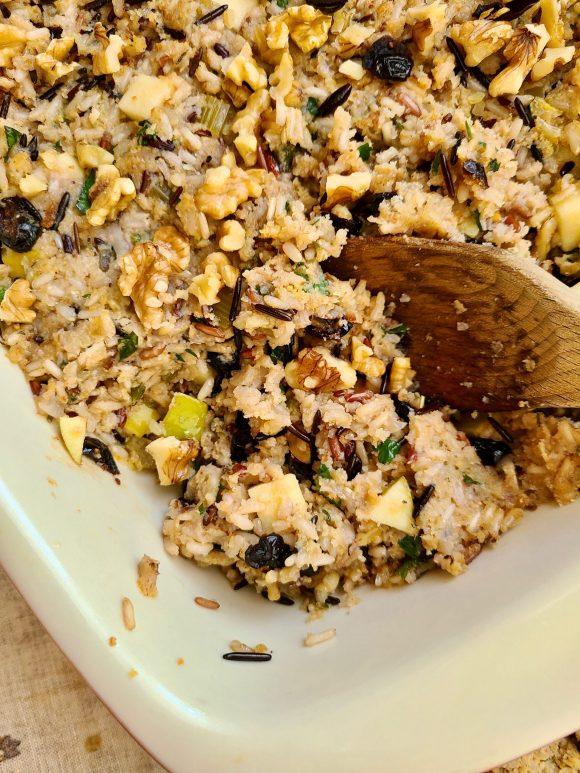 Vegan Wild Rice Stuffing with Cranberries