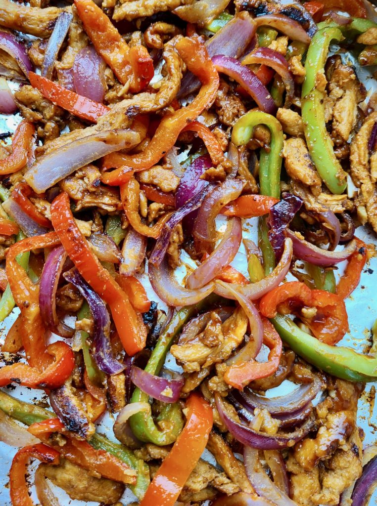 Grilled peppers, onions, and soy curls