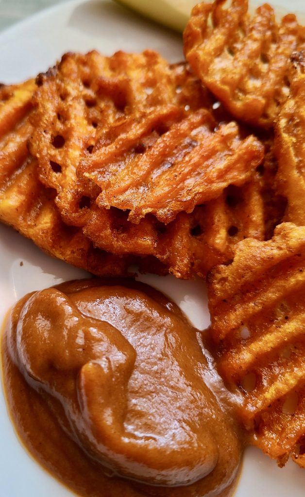 Sweet Potato Waffle Fries with Smoky Medjool Date Barbecue Sauce
