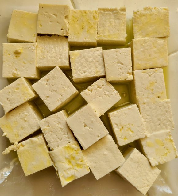 Tofu drizzled with olive oil
