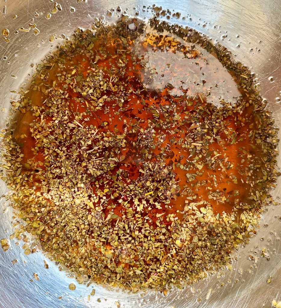 Red wine vinegar, dried oregano, dried basil and salt