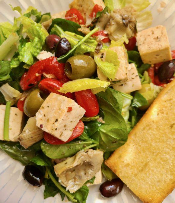 Vegan Antipasto Salad with a side of garlic bread
