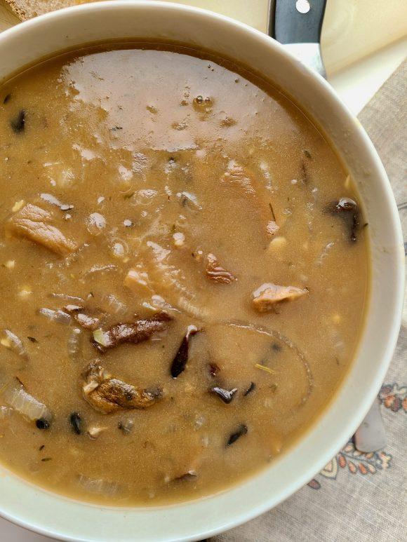 Vegan French Onion Wild Mushroom Soup