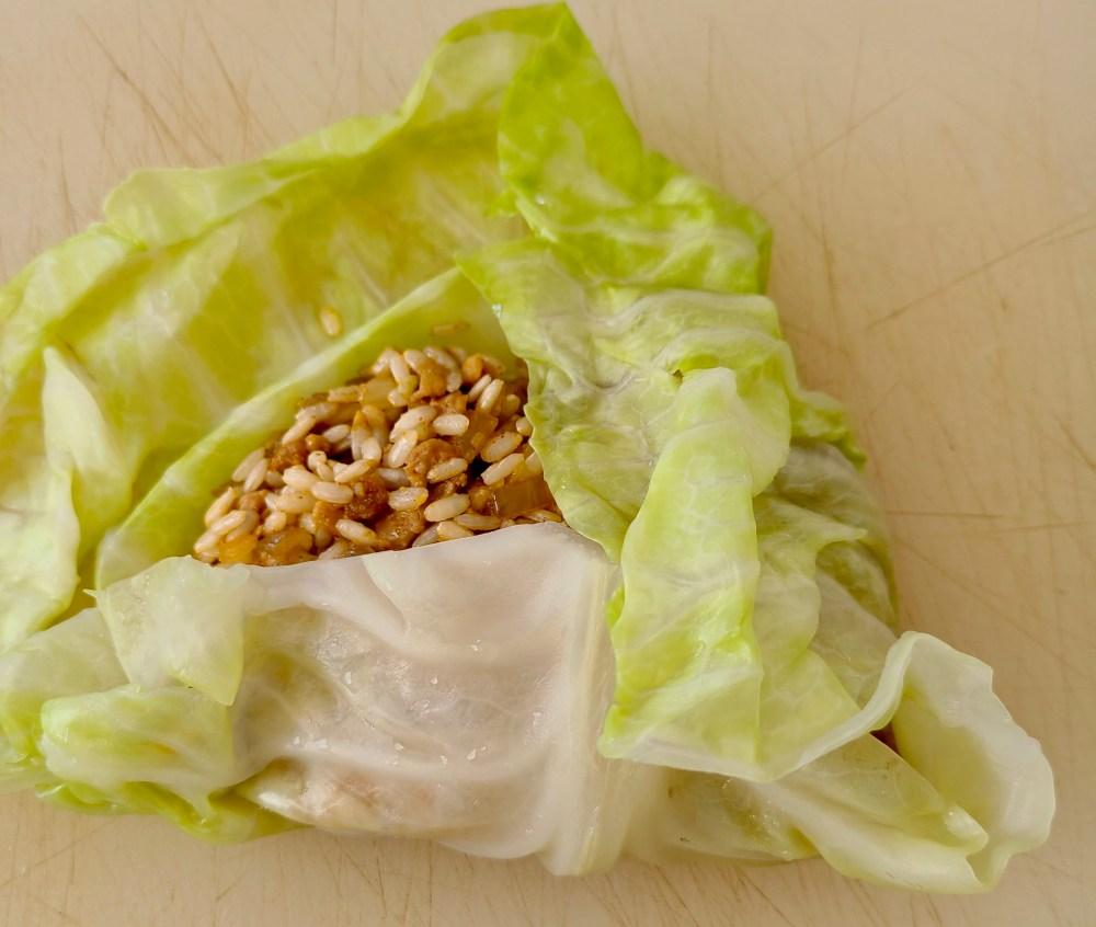 Homemade vegan cabbage rolls