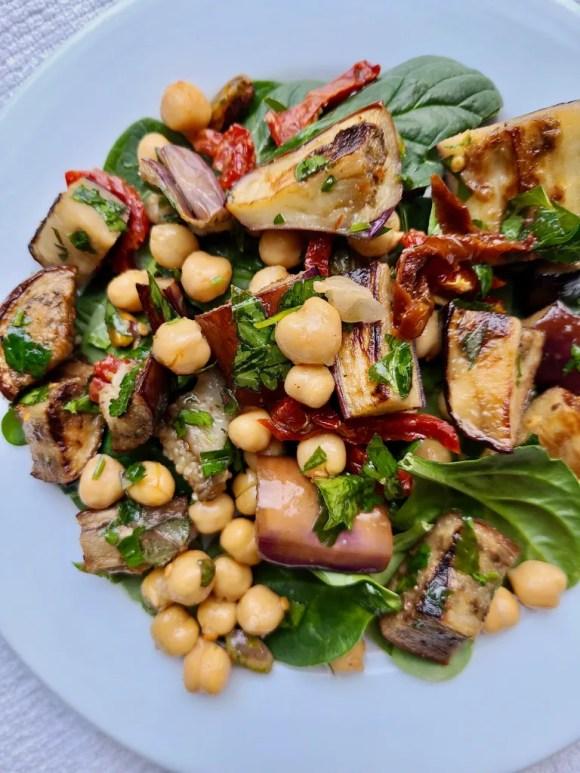 Chickpea Eggplant Salad