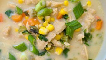 Vegan Sweet Corn Soup with Coconut Milk