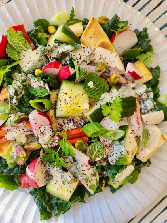 Pita Salad with Lemon Dressing