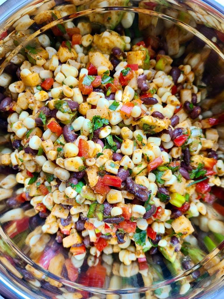Jicama, Black Bean and Corn Salad with Lime Juice