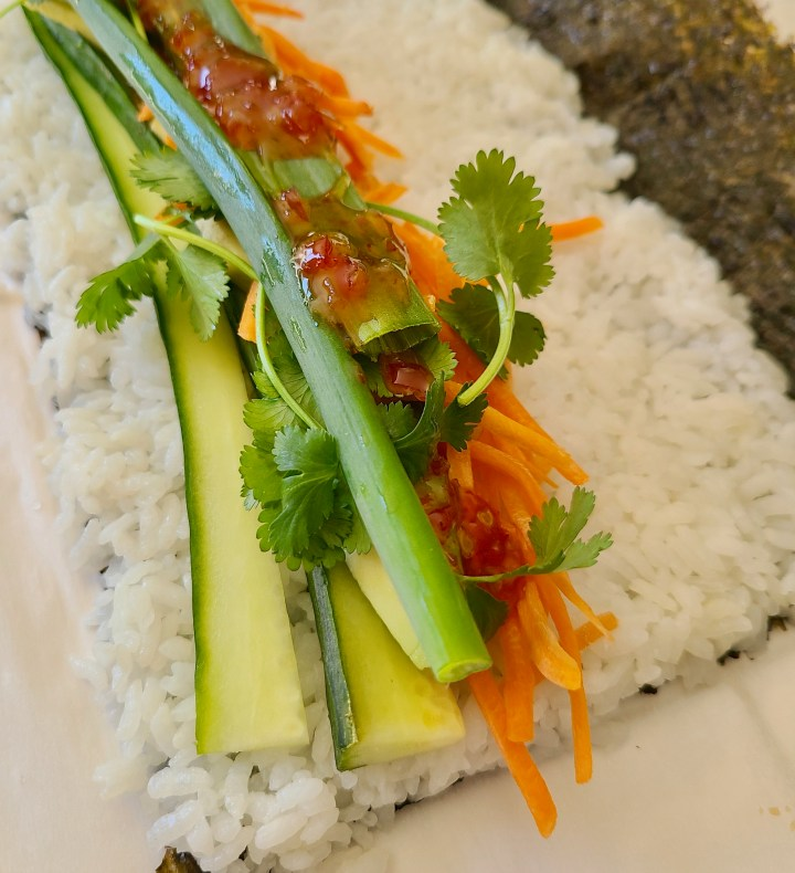 Vegan Cucumber Sushi Rolls with Sweet Chili Sauce
