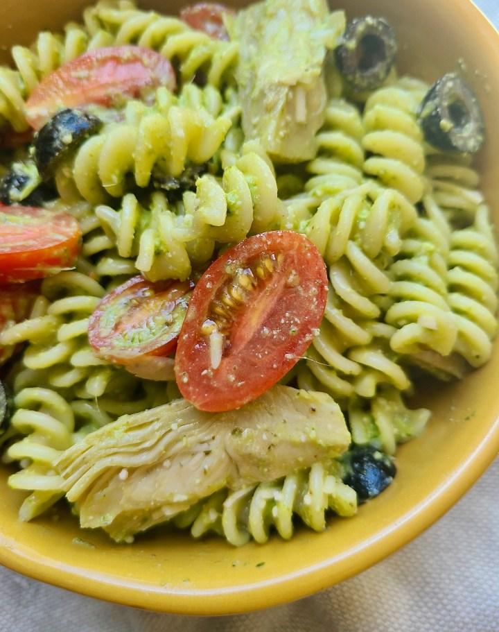 Sunflower Seed Pesto Pasta Salad Vegan