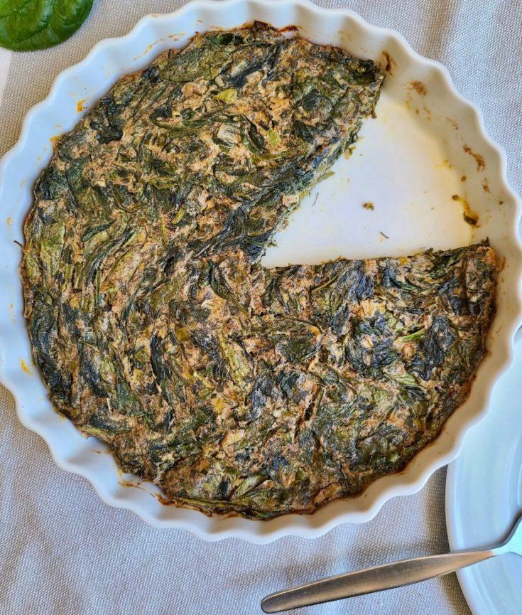Persian-inspired vegan spinach herb frittata