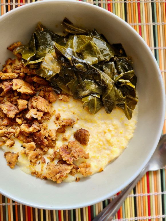 Vegan Grits with Tempeh Bacon and Greens