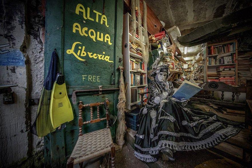 """At the """"Acqua Alta"""" Bookstore in Venice"""