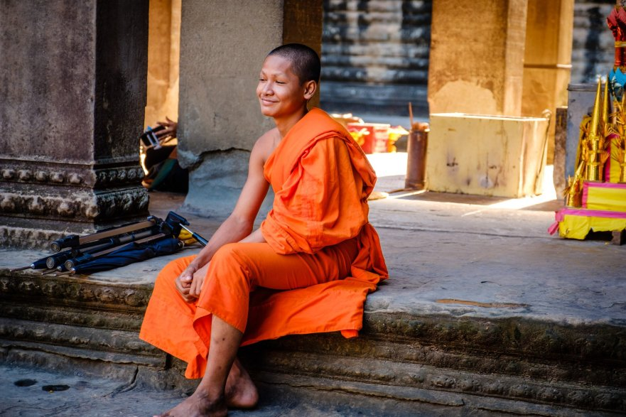 Buddhist monk in Angkor Wat, Cambodia