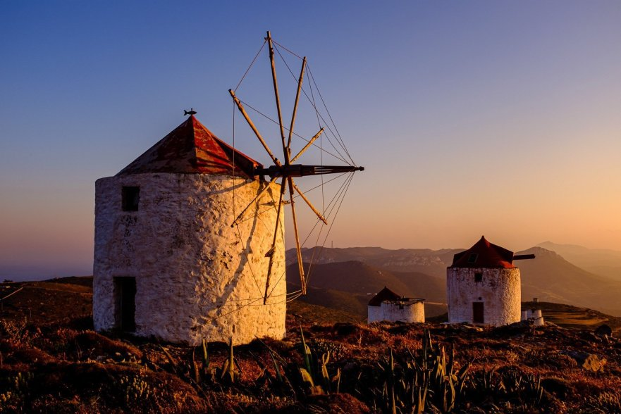 Windmills, Amorgos, Cyclades, Greece