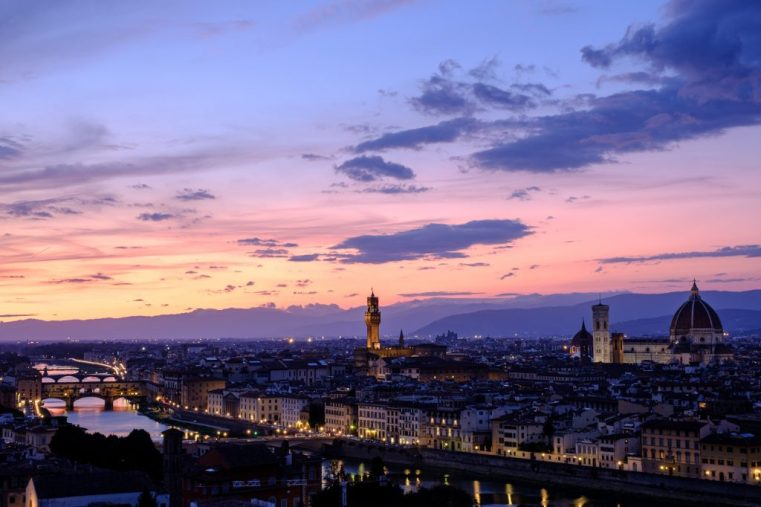 Skyline of Florence from Piazzale Michelangelo at dusk