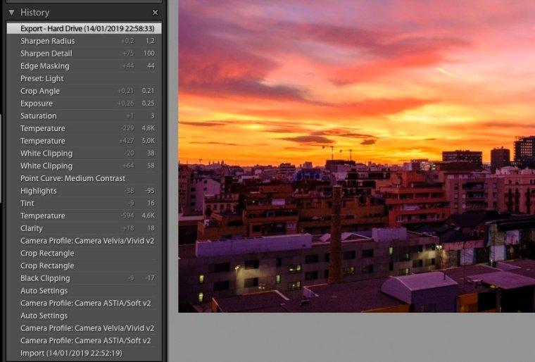 Adobe Lightroom develop history