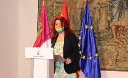 Olga Arribas durante la presentación del Plan de Empleo regional 2021.