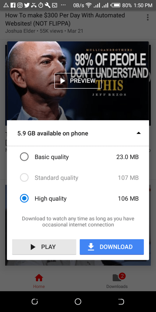click download youtube video