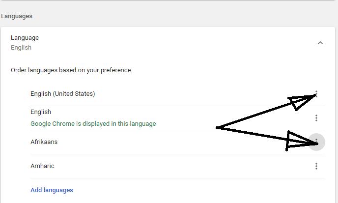 select menu to change languages